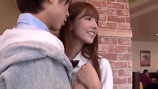 Slutty Japanese Schoolgirl Seduced A Guy In A Restaurant