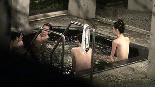 Desirable amateur Asian ladies taking a bath on hidden cam