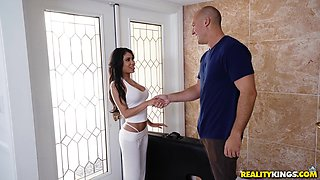 Shay Evans is a petite babe ready to ride a hunk's member