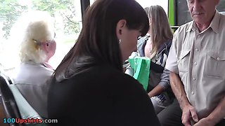 Brunette Hair female upskirt on the bus