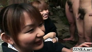 Subtitled CFNM perky Japanese outdoor bathing handjobs
