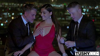 TUSHY Sexy actress Emily gets a double penetration from her two co-stars