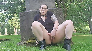 Goth Plays With Her Pussy In Cemetery