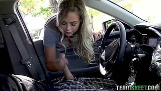 Wonderful looking beauty Nicolette Love wanks dick right in the car