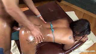 Oiled up ebony beauty loves to get fucked