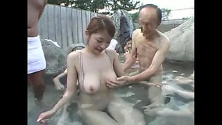 Japanese old man groping hot chick in hot spring 3