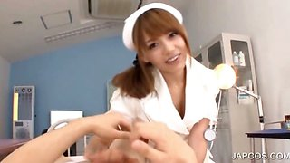 Asian sexy nurse gets tits licked