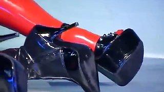 Slutty lesbian slave in latex stockings and high heels