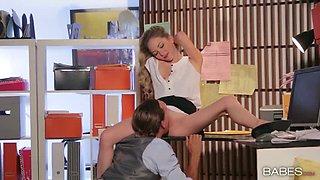 Petite blond secretary Angel Smalls gets banged on office table