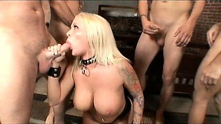 Angel Vain swallowing huge amounts of cum in a blowbang