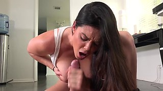 Big-tittied lady enticed guy and made him fuck her in the kitchen